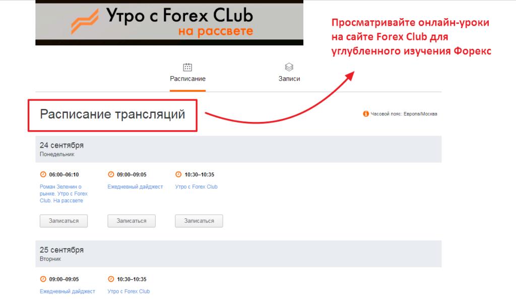 Расписание трансляции видео уроков от Forex Club