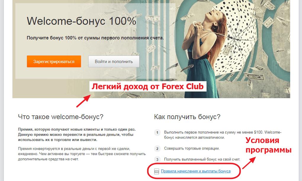 Страница бонусов компании Forex Club
